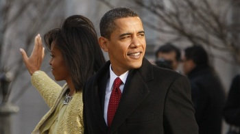 In this Jan. 20, 2009 file photo, President-elect Barack Obama and Michelle Obama walk out of St. John's Episcopal Church across from the White House in Washington. Obama was a fresh-faced 47-year-old at the beginning of his presidency. (AP file)