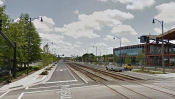 Google maps image of railroad tracks at the intersection of Franklin and Winslow streets.