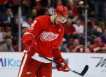 Detroit Red Wings defenseman Brendan Smith skates off the ice during the third period of the team's NHL hockey game against the New York Islanders on Tuesday, Feb. 21, 2017, in Detroit. The NHL trade deadline is looming over the league, leading to players such as Detroit Red Wings' Smith and forward Thomas Vanek wondering if they will be dealt. Both players have expiring contracts, making them attractive on the market. (AP Photo/Paul Sancya)