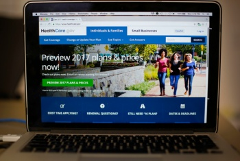 "FILE - In this Oct. 24, 2016 file photo, the HealthCare.gov 2017 web site home page is seen on a laptop in Washington. Add Medicaid expansion to the list of ""Obamacare"" provisions that Americans want to keep. That's the conclusion of a new poll, which finds that 8 in 10 U.S. adults say lawmakers should preserve federal funding that has allowed states to add coverage for some 11 million low-income people.  (AP Photo/Pablo Martinez Monsivais, File)"