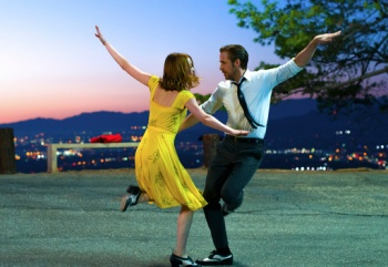 """This image released by Lionsgate shows Ryan Gosling, right, and Emma Stone in a scene from, """"La La Land."""" The film is nominated for an Oscar for best picture. The 89th Academy Awards will take place on Feb. 26. (Dale Robinette/Lionsgate via AP)"""