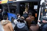 Residents of Kordelio district board a bus after authorities ordered the evacuation of the area in order to defuse a 500-pound unexploded World War II bomb, in Thessaloniki, Greece Sunday, Feb. 12, 2017. Bomb disposal experts are to tackle the device, found buried beneath a gas station, on Sunday in an operation expected to last about six hours, with all residents in a nearly 2-kilometer (1.2-mile) radius being evacuated. (AP Photo/Giannis Papanikos)