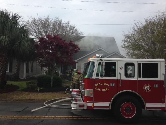 Crews respond to two-story structure fire in Beaufort