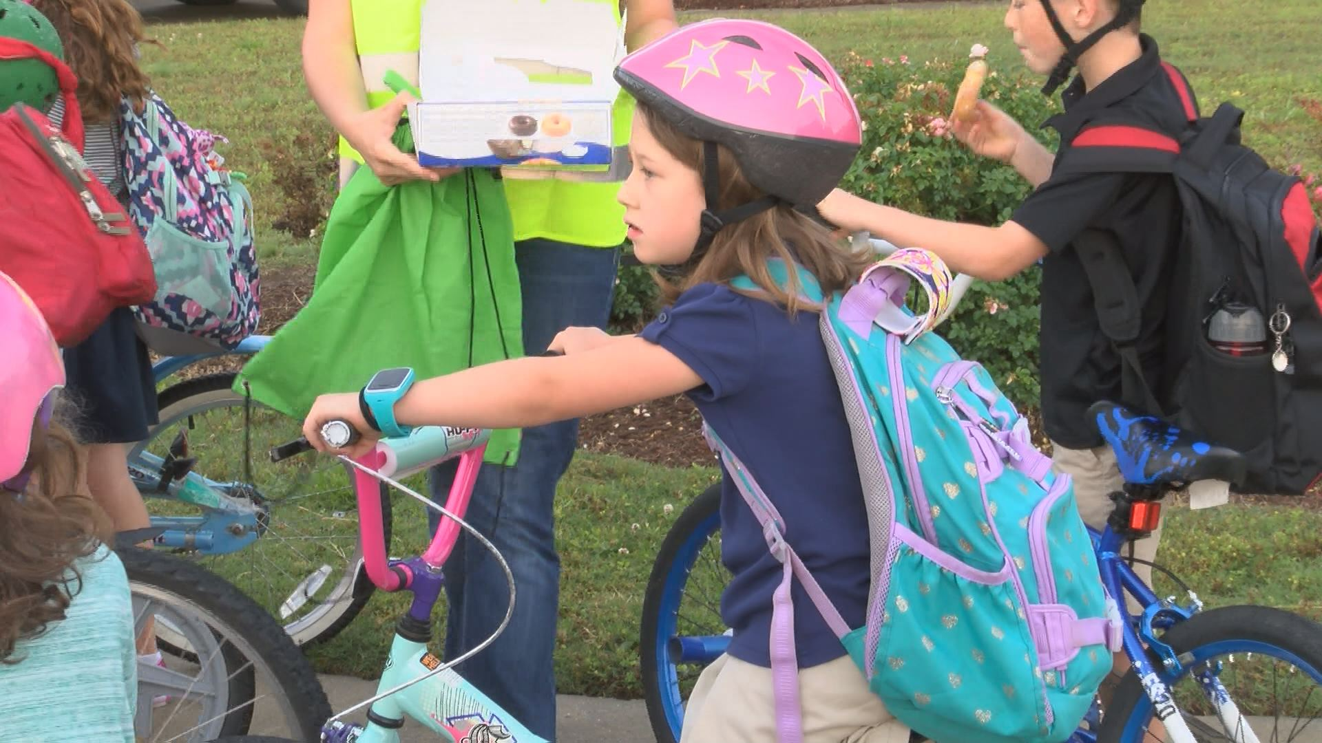 Students skip the bus on Bike to School Day