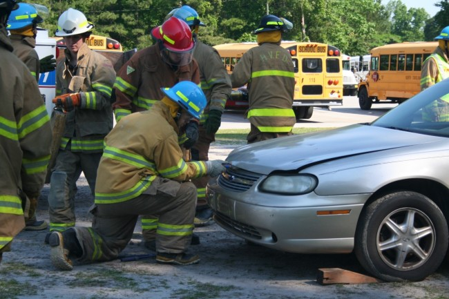 Southwest HS students earn fire-fighting, emergency medical credentials during vehicle crash scenario