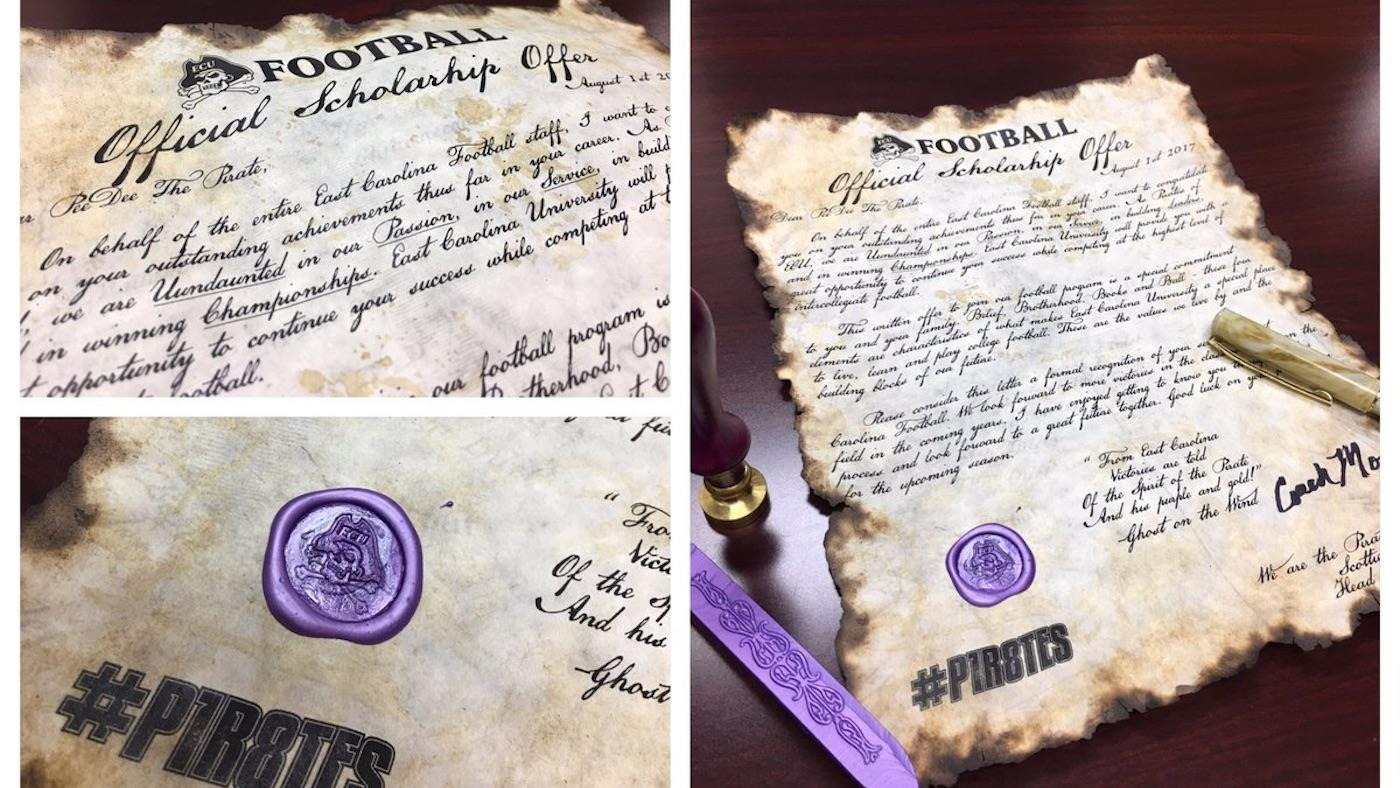 ECU football sends scholarship offers on scrolls sealed with wax