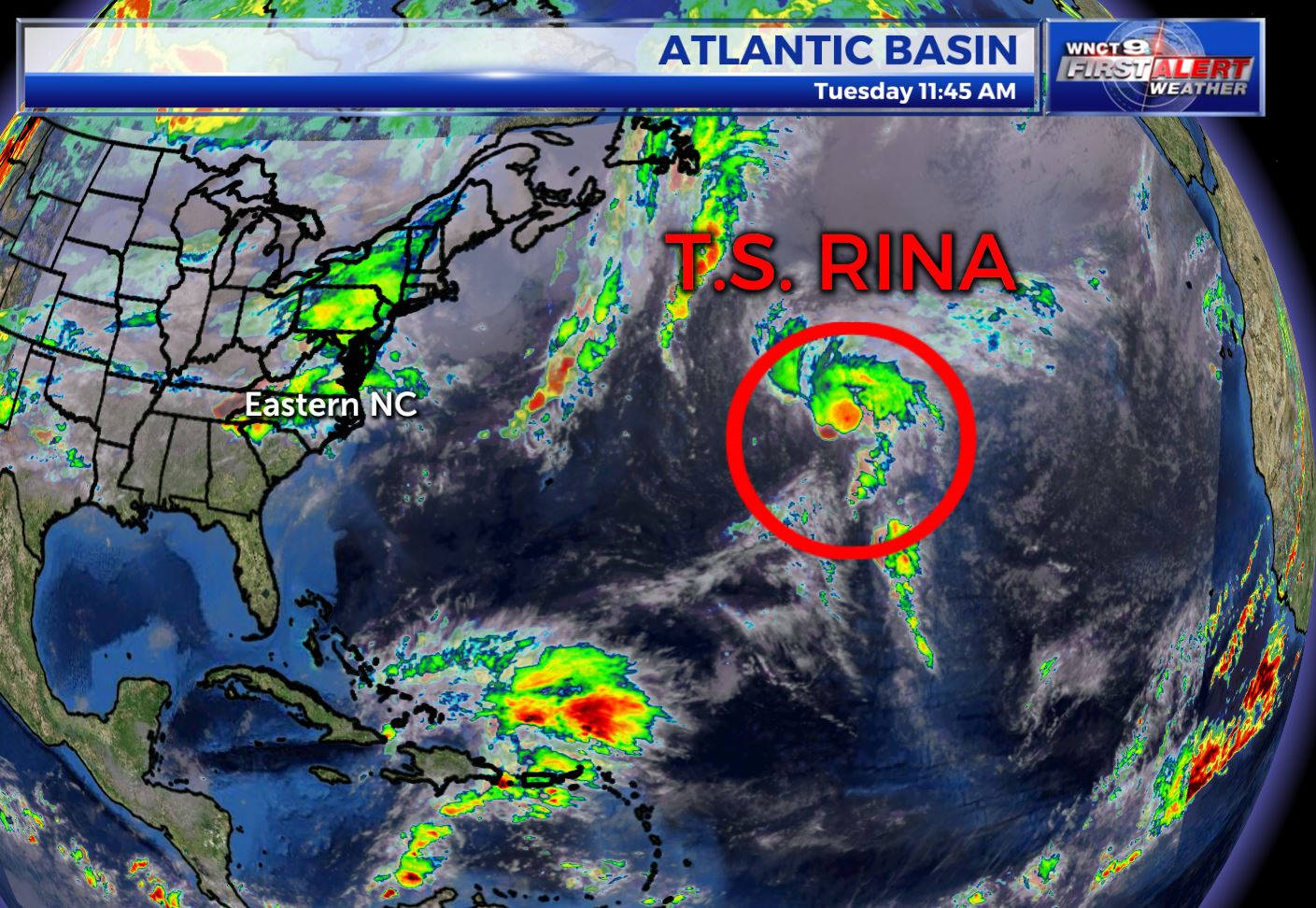 Rina tracking into the northern Atlantic