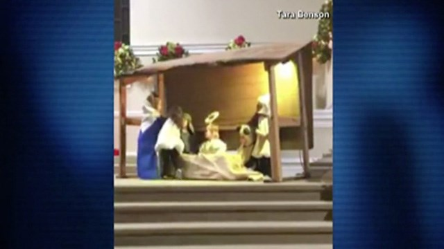 Toddlers hilariously fight over baby Jesus during church nativity: watch video