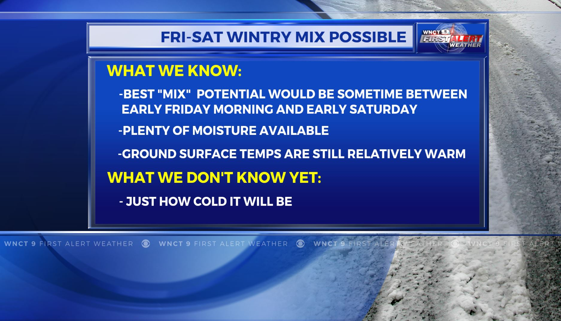 Wintry mix possible overnight; Flurries on Friday morning