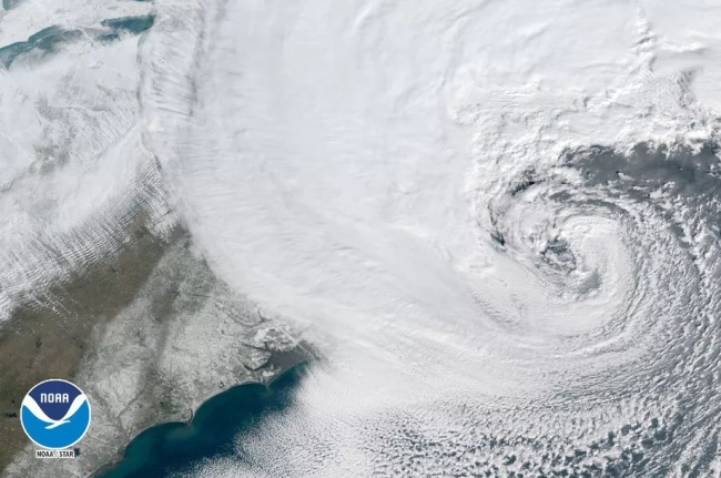 """GOES 16 satellite image from Thursday, January 4, 2018 at 10:00 a.m. showing the storm dubbed """"The Blizzard of 2018"""" exiting North Carolina."""