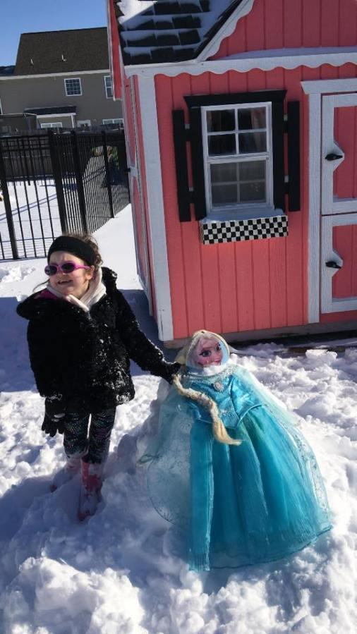 Kennedy Clark, 6, of Winterville with her snow creation ( Elsa the snow Princess)