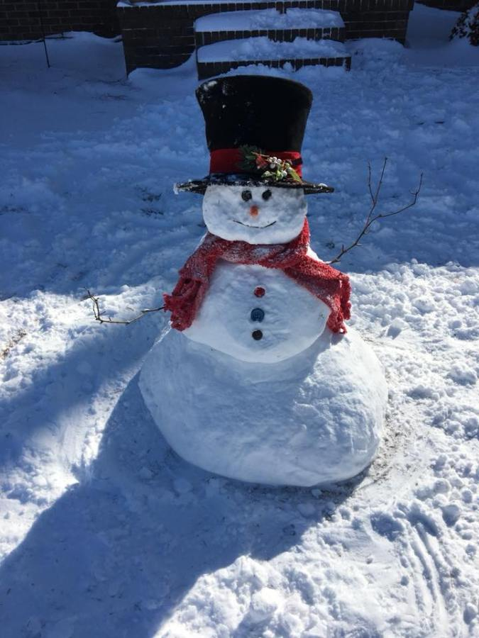 Snowman in Beulaville by three year old Shelby Jata