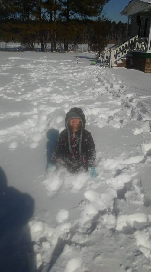 Timothy Colwell daughter in snow