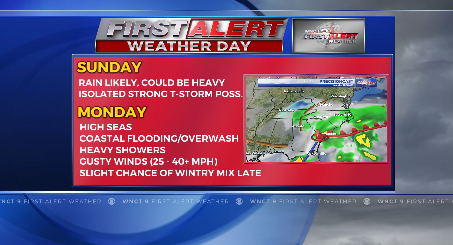 First Alert Forecast: Rain likely for Sunday and Monday